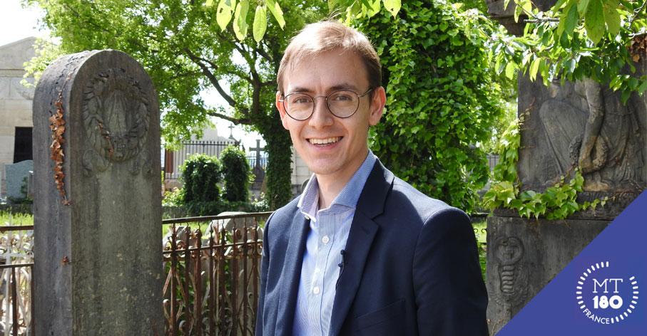 Éric Sergent, doctorant de l'Université de Lyon et finaliste MT180 2021 - Cimetière de Loyasse, Ville de Lyon - Université de Lyon