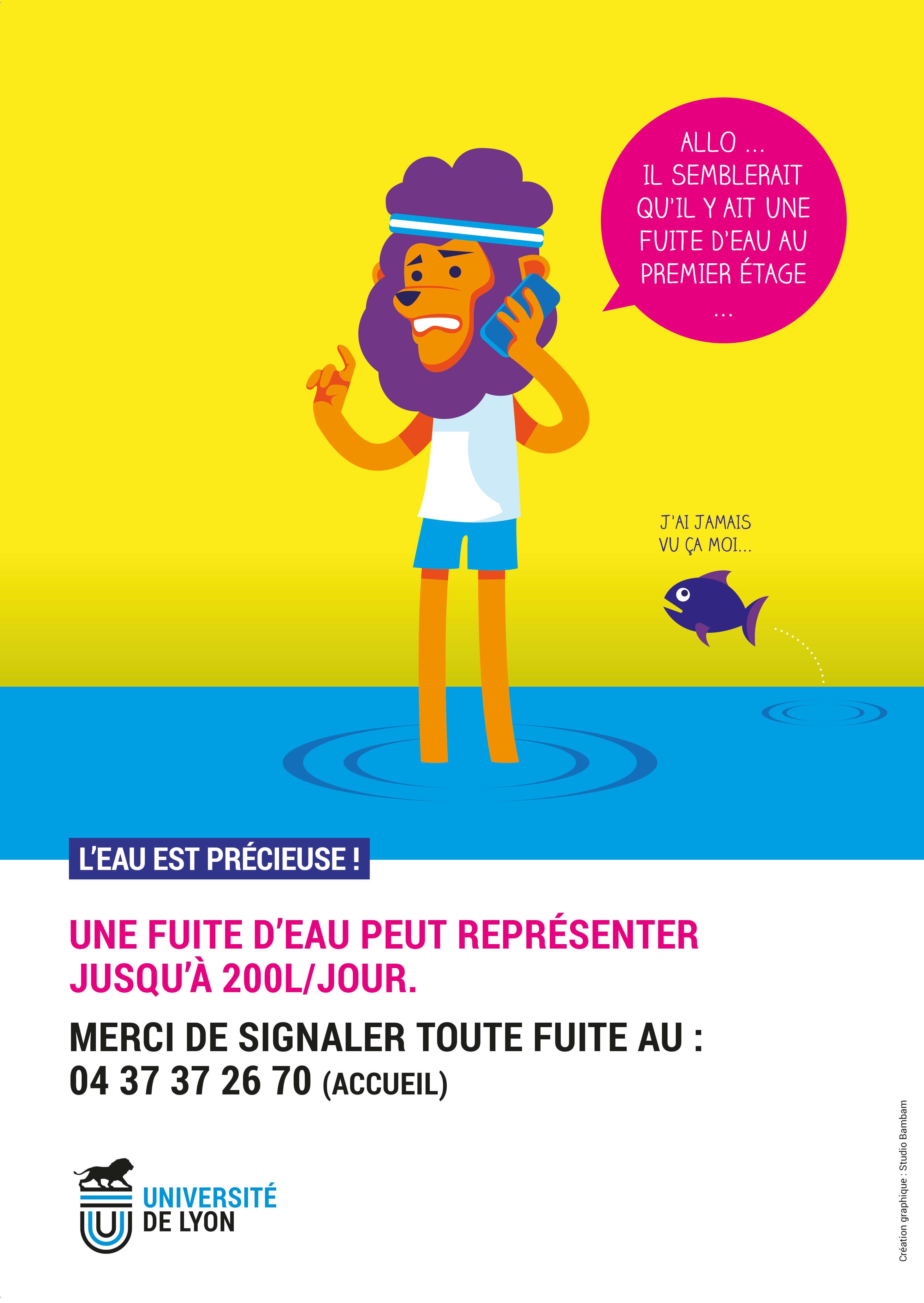 L'affiche éco-geste fuite d'eau