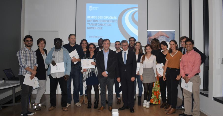 Cérémonie de remise de diplômes des étudiants du DU Transformation numérique - Université de Lyon - 21 octobre 2019